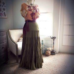 Long Maxi Olive Green Anthropologie Silk Skirt